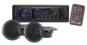 New PLMRKT14BK Marine Boat MP3 Player Stereo AM FM Radio 4X 6.5