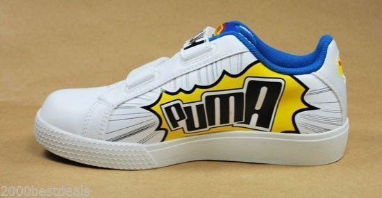 PUMA Shoes Game Point Infants White Dandelion Blue Toddlers Fashion Light Up 1