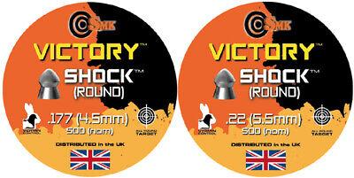 VICTORY SHOCK ROUND Pellets Airgun Air Rifle .177 .22 QTY 50 - 500 SHOOTING