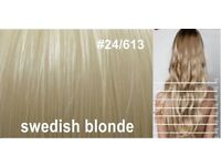 "Swedish Blonde Hair Extensions 22"" Synthetic x2 Full Head"