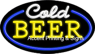 Cold Beer Real Glass Handcrafted Flashing Neon Sign