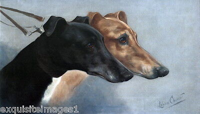 1914 L.Cheviot~1 Black & 1 Brown Greyhound Dog Dogs~Profiles~ NEW Lge Note Cards