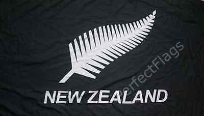 NEW ZEALAND BLACK FERN FLAG - WHITE LEAF FERN - Hand, 3x2, 5x3, 8x5 Feet