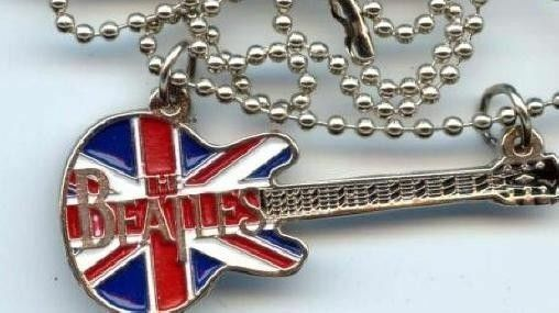 Beatles Union Jack Silver Guitar Necklace with chain (seldom offered)