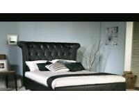 Epsilon King Size Black Faux Leather Bed Frame