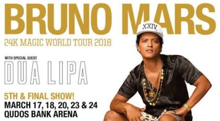 2x Tickets Bruno Mars SYDNEY 20th March 2018