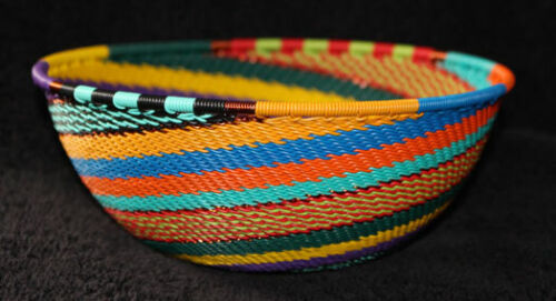 Vibrant Intricate Swirl - Handmade African Zulu Telephone Wire Basket MED BOWL