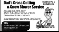 Dad's Grass Cutting Service.... Residential/Commercial
