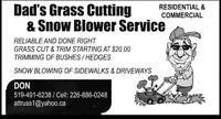 Dad's Grass Cutting Service...Residential / Small Commercial