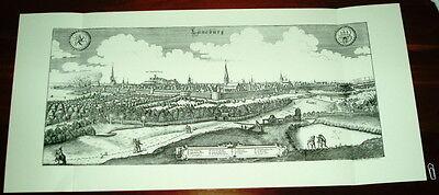 Lüneburg alte Ansicht Merian Druck Stich 1650 Panorama