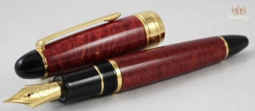 Sailor King Of Pens Red Brier Wood With Gold Trim Fountain Pen Attractive Design