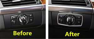 US Ship Steel Interior Head Light Switch Button Cover Trim For BMW X5 E70 07-13