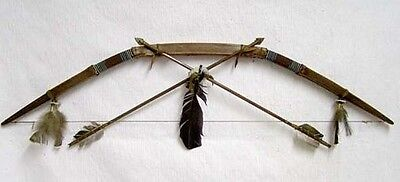 Native American Rawhide Wrapped Bow & Arrows