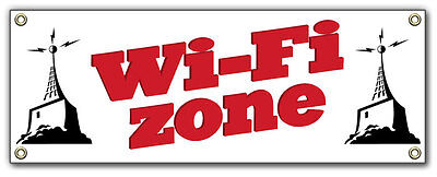 Wi-fi Zone Vinyl Outdoor Banner Sign. Same Day Ship.