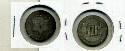 1853 THREE CENT SILVER TYPE COIN  GOOD 8638D