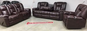 New Brown 3Pce 5Rec USBglider loveseat,drop table sofa, recliner