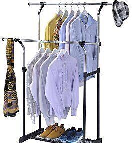 Double metal coat/clothing rack