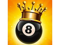 8 BALL POOL - 1 BILLION - EXCELLENT STATS - GOOD CUES