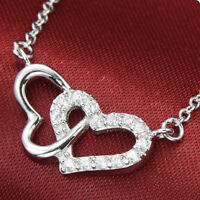 Crystal Silver Two Heart Pendabt
