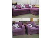 New 3+1+1+Chase Purple Corded Fabric Sofa Set 5 Seat Cusion Back Settee