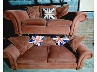 REDUCED Beautiful Barker and Stonehouse 3 seater and 2 seater chunky fabric sofas terracotta brown