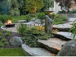 Natural stone steps, edging, pavers to accent the beauty of your landscape. Pick up in Barrie, we are open on weekends.
