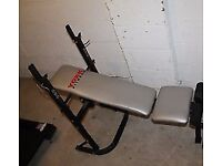 York 500 Fitness Bench with 1 barbel, 2 dumbells & 45kg in weights