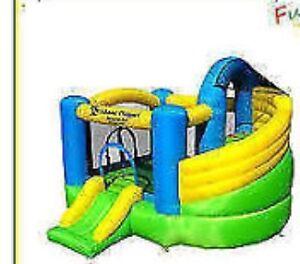 little tykes red yellow blue kids slide bouncy castle