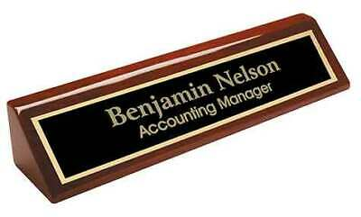 Personalized Desk Name Plate Rosewood Piano Finish Black Gold Brass Office