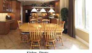 Solid maple dinning table with six chairs