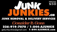 Junk, rubbish, garbage removal an delivery/estate service