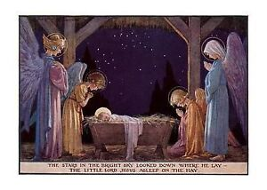 Angels at Manger of Baby Jesus Christmas Cards by Laughing Elephant (Mixed...