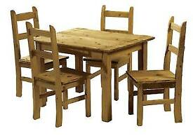 Solid pine table and chairs brand new