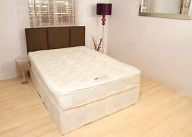 4ft6 Double Deep Quilt Divan Bed with Mattress - FREE Next Day Delivery Essex & London