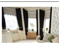 3 pairs black curtains - fully lined, pencil pleat tape top