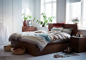 King bed frame with storage boxes