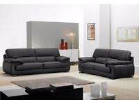 BRAND NEW LUXURY KANSAS LEATHER SOFA 3+ 2 SEATER + DELIVERY