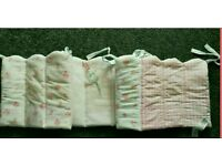 Cot set bumper, Daisy Lane quilt and fleece blanket