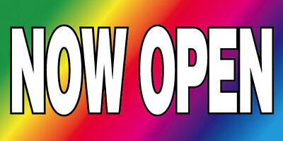 Now Open Vinyl Banner Sign New 2x4 Ft - Rainbow