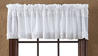 Shabby French Motherland Chic WHITE RUFFLED VALANCE Sheer Window Curtain Ruffles
