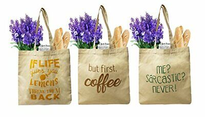 Earthwise Organic Cotton Reusable Grocery Bag Shopping Totes (3 Pack)