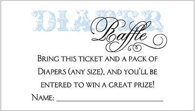 20 Diaper Raffle Tickets - Boy Baby Shower Invitation Insert - Baby Shower Boy Invitations