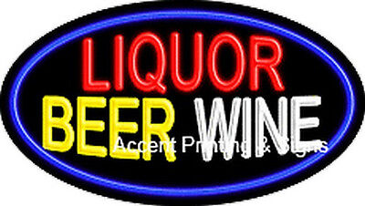 Liquor Beer Wine Handcrafted Real Glasstube Flashing Neon Sign