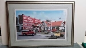 Framed auto and old service stations, shell, BA,White Rose poli