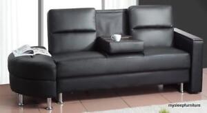 BLACK SOFA BED / COUCH - MODERN DESIGN - COMPACT - WITH STORAGE