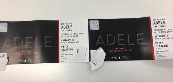 Adele 2 x standing ticket Wembley Sat 1 July