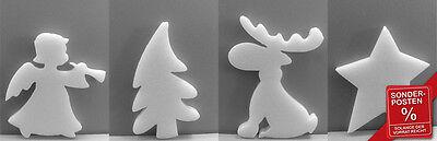 6x Engel, Rentier, Baum, Stern Weihnachten Styropor Winter Schnee Deko E8396