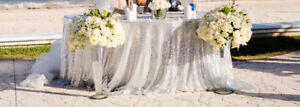Silver Sequined Tablecloths and Runners