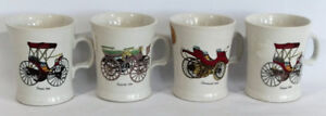 Vintage Antique Unusual Old Cars on Mugs 4 PC Set Hand Crafted