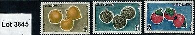 Lot 3845 Cambodia 1962 Cambodian Fruits (1st Issue) Set of 3 Mint Hinged Stamps